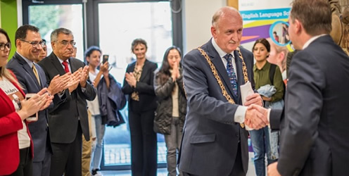 Lord Mayor, Nial Ring being congratulated after delivering his speech by Shane Ormsby, College Director, IBAT College Dublin
